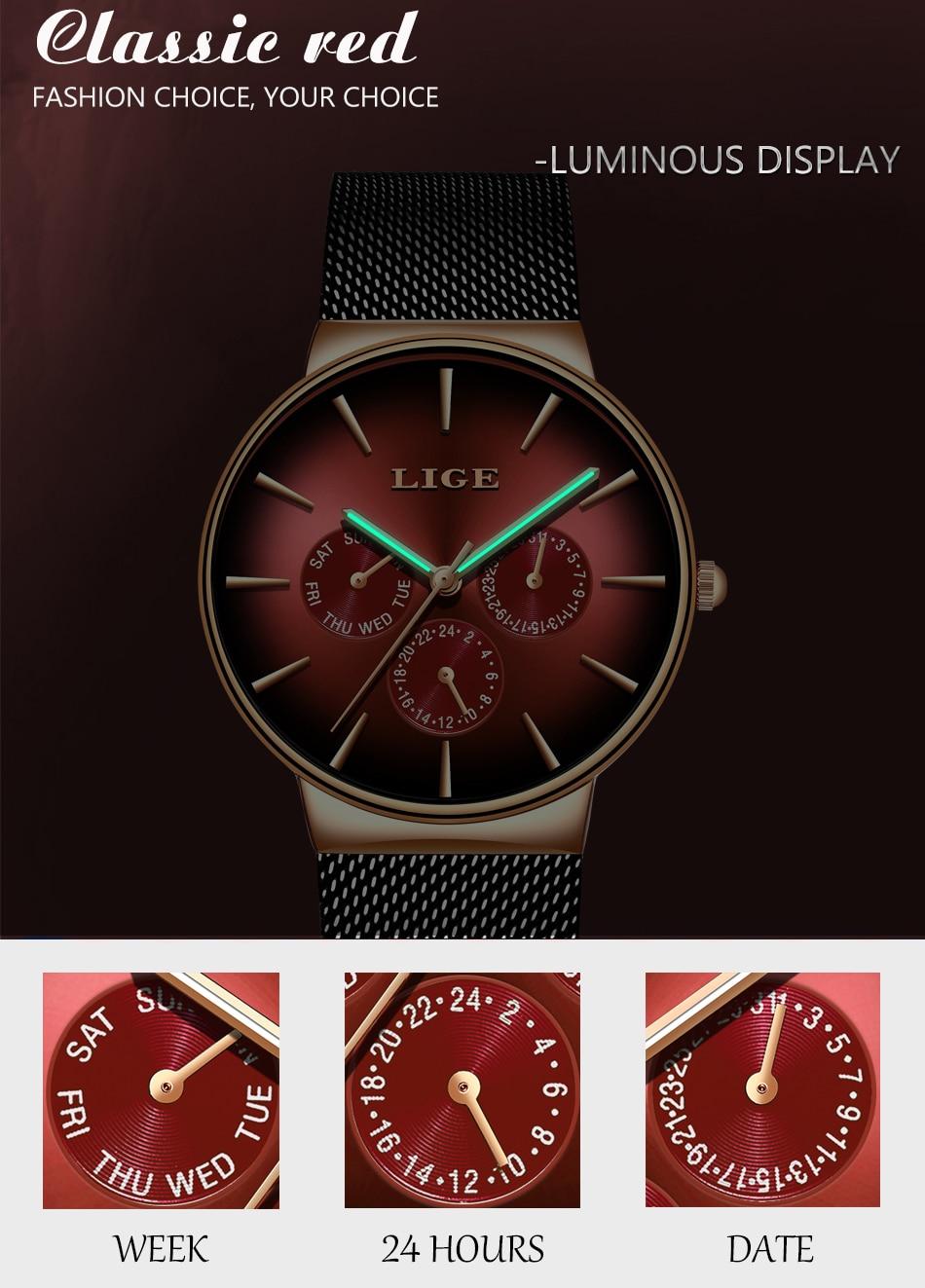 HTB12I0nd3aH3KVjSZFjq6AFWpXaL LIGE New Fashion Mens Watches Top Brand Luxury Quartz Watch Men Mesh Steel Waterproof Ultra-thin Wristwatch For Men Sport Clock