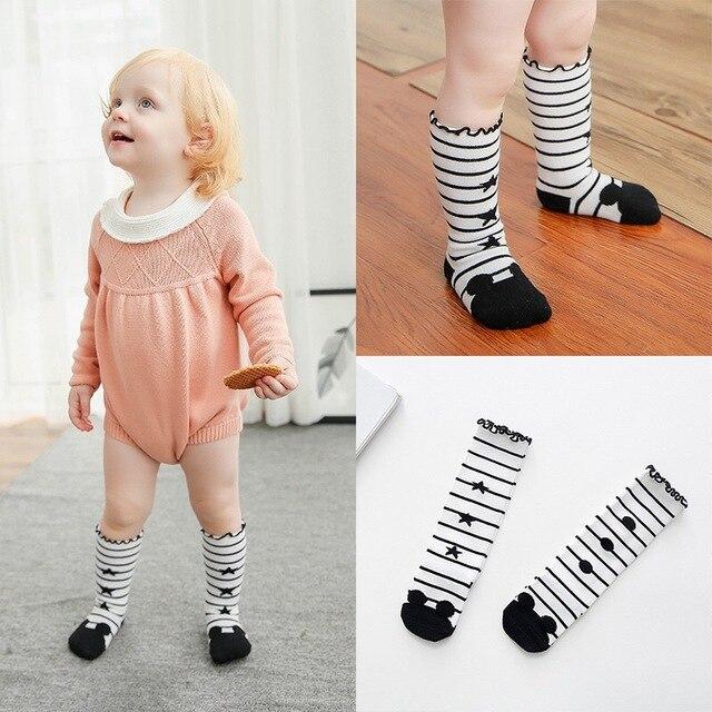 0ed9b8c9d 10 pairs Kids Long Socks baby Cotton Sock Knee High toddler Girls Boot Sock  Leg Warmer Cute Cat Black for baby girls wholesale