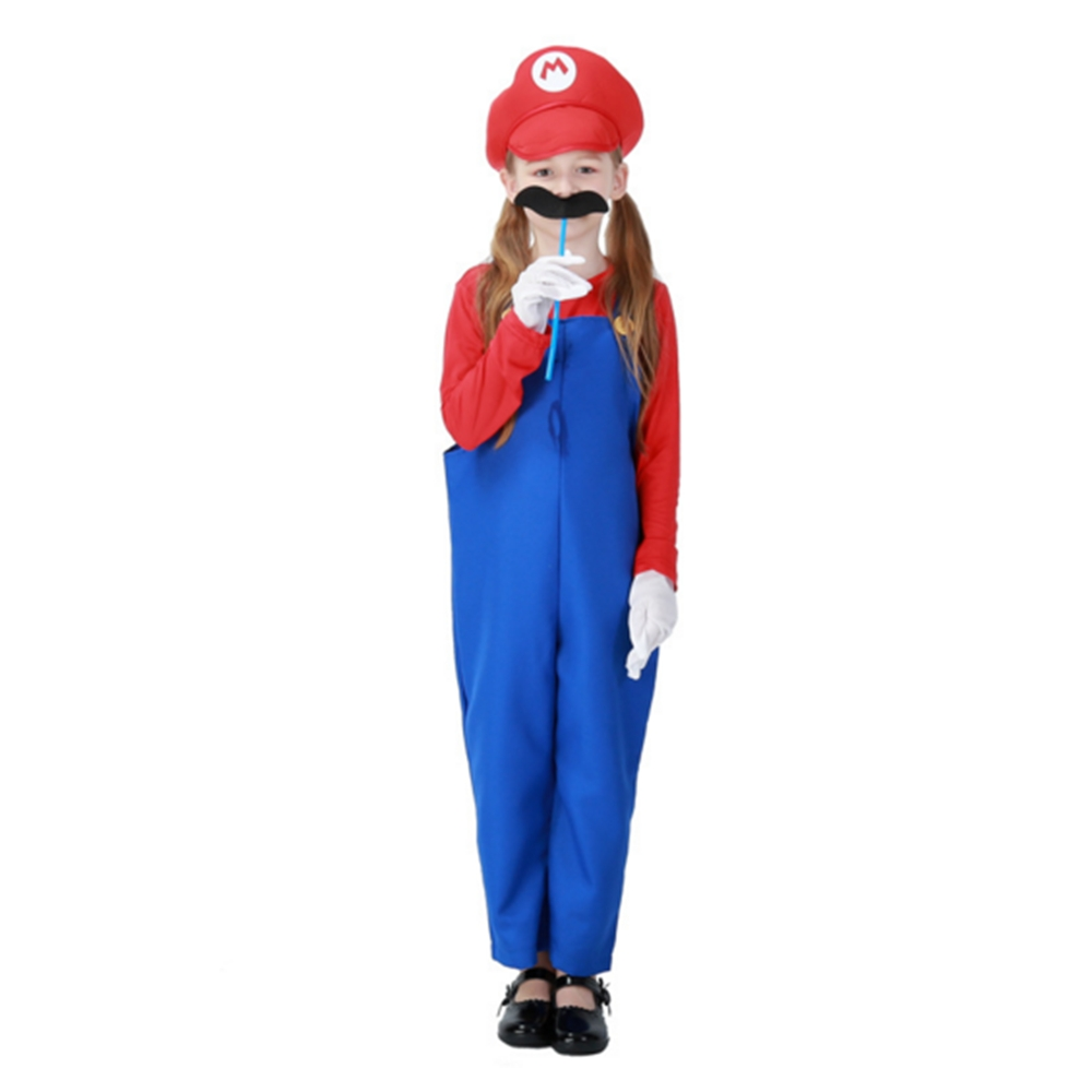 FINDPITAYA Halloween Girls Mario Louis Brothers Unisex Children's Halloween Costume with Gloves Beard Christmas Party Cosplay
