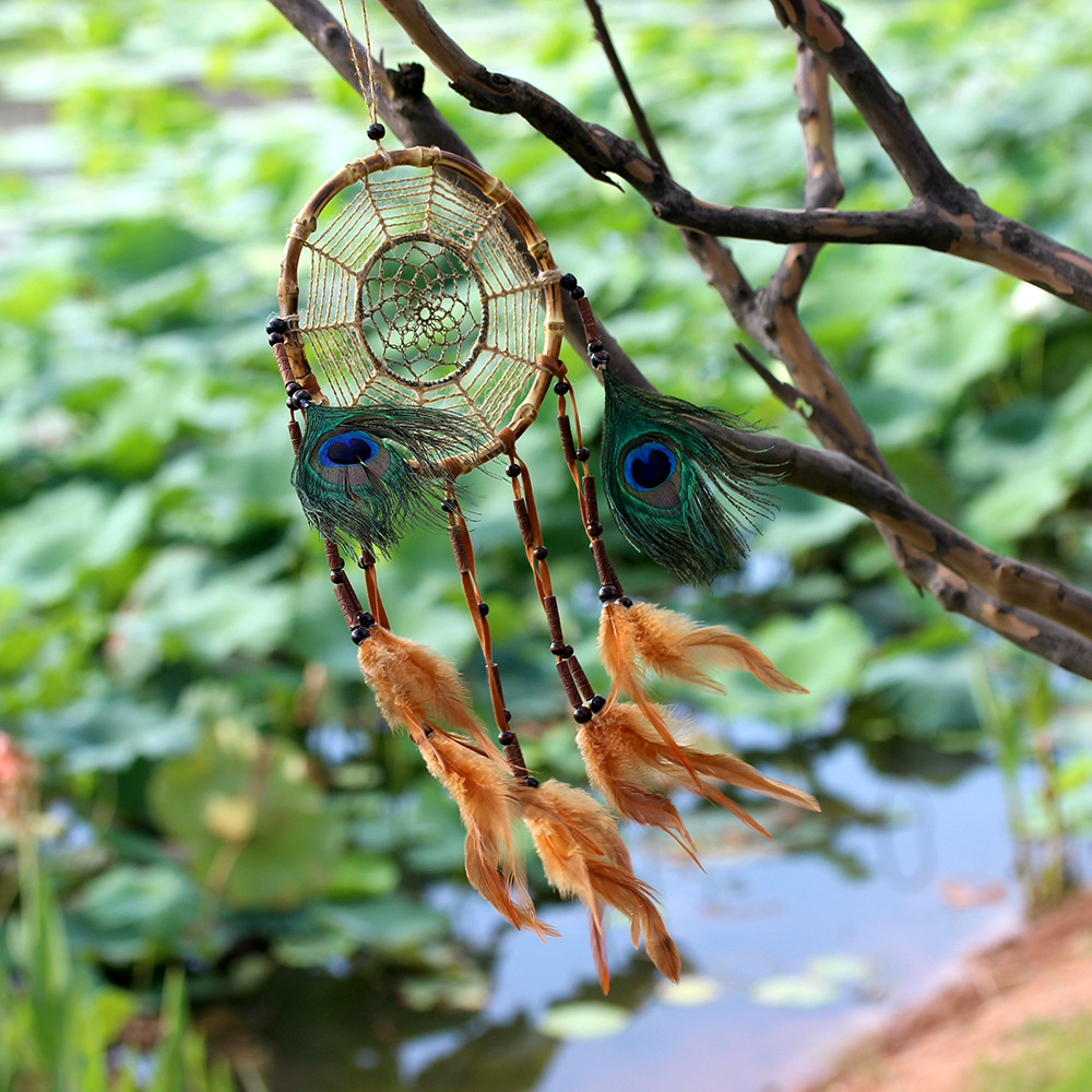 Buy Dreamcatcher Handmade Wind Chimes Hanging Pendant Feather Indian Dream Catcher Wall Art Hangings Car Home Decorations Crafts for only 11.55 USD