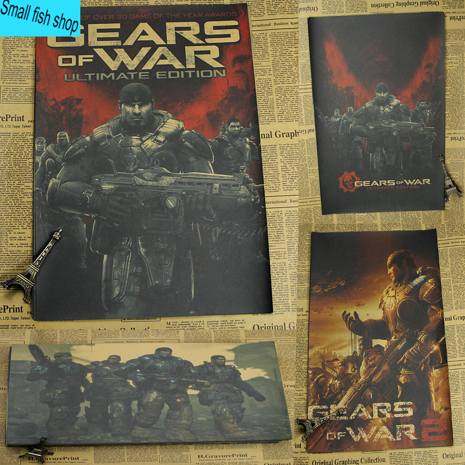 Gears of War 2 3 4 Game Poster Home Furnishing decoration Kraft Game Poster Drawing core Wall stickers
