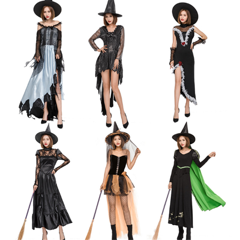 new high quality Sexy witch cosplay costume demon Vampire queen Costumes role play Adult women Witch Halloween Fancy Party Dress