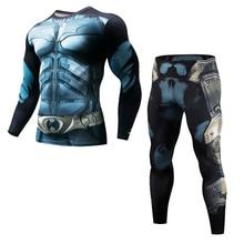 Mens Fitness Clothing Set Fashion Superman Pants Brand Sportswear 3D Print Complete Compressed Bat Long Sleeve Top