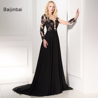 A Line One Shoulder Full Sleeves V Neck Black Appliques Evening Dresses 2016 Court Train Formal