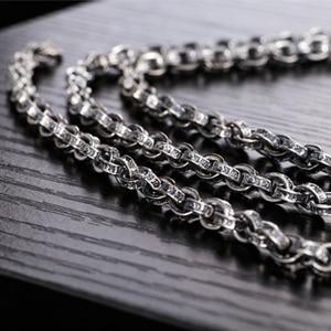 Image 3 - ZABRA Buddhism Mantra Signet 925 Sterling Silver Necklace Men Width 5mm 50/55/60/65/70cm Long Box Chain Biker Jewellery