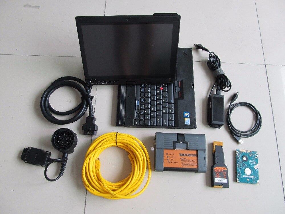 2018 pour bmw icom a2 obd câble complet professionnel pour bmw outil de diagnostic de programmation avec le logiciel 500 gb hdd x200t ordinateur portable win7