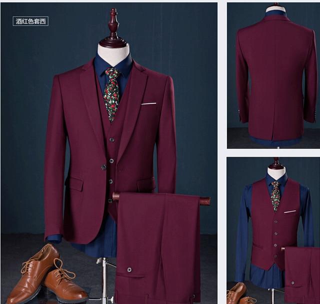 Retro estilo gentleman trajes de hombre para hombre de 3 unidades ( Jacket + Pants + Vest ) moda flaco Casual trajes Set Prom vestidos