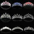 2017 Meninas Novas Flor da Jóia Do Casamento de Noiva da princesa de cristal coroa tiara Tiara de strass Acessórios Headband Do Presente do Partido Do Baile