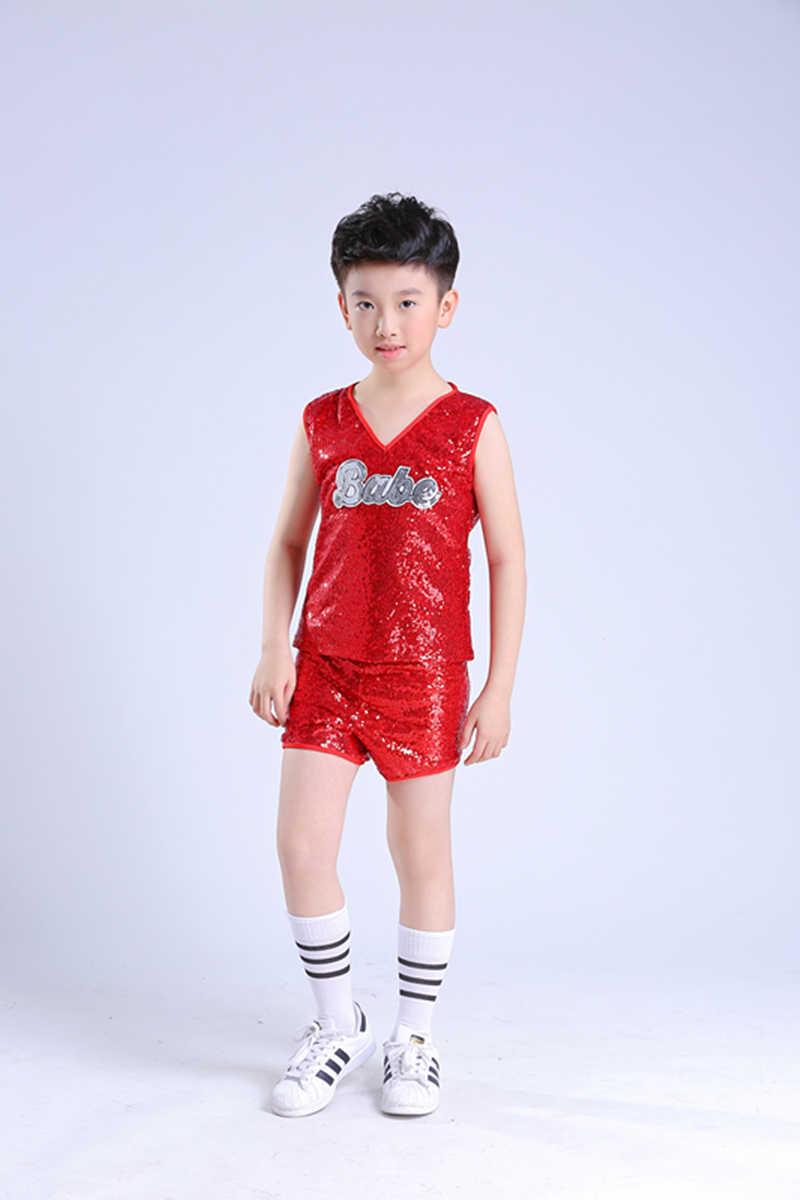 4b24251a116 ... Red Children's Jazz Dance Costumes Girls Modern Dance Sequins Hip Hop  Street Dance Suits Cheerleading Performance ...