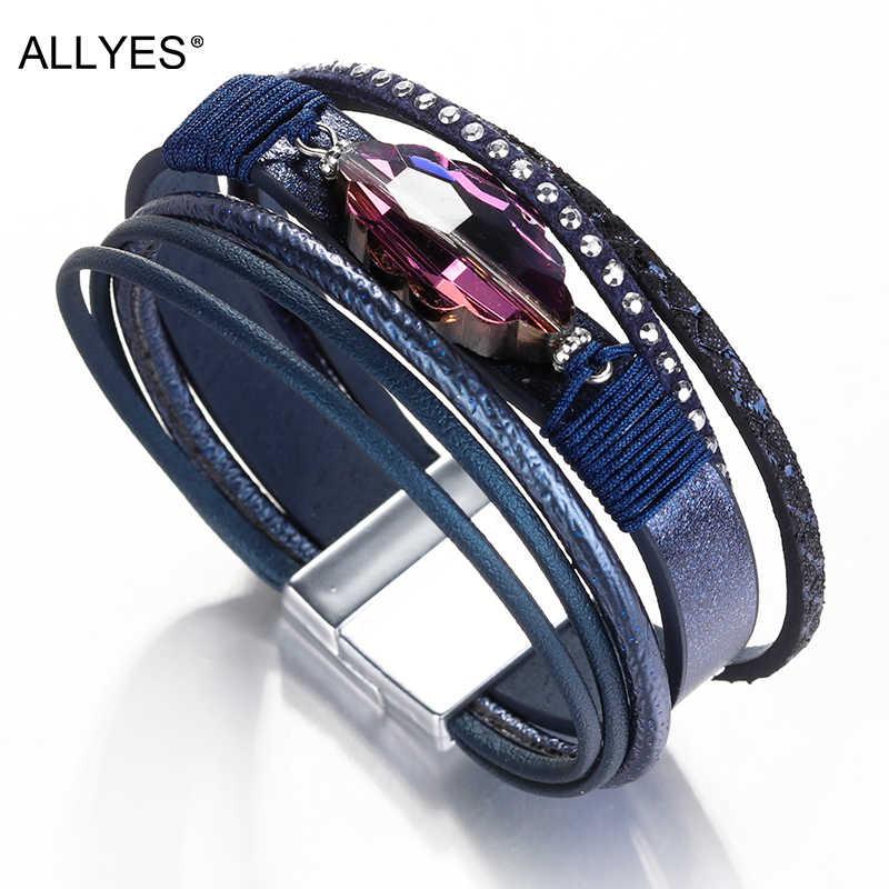 Allyes Kulit Gelang untuk Wanita Gelang & Gelang Fashion Perhiasan Berlian Imitasi Warna Ungu Mulitlayer Berbagai Bungkus Gelang Wanita