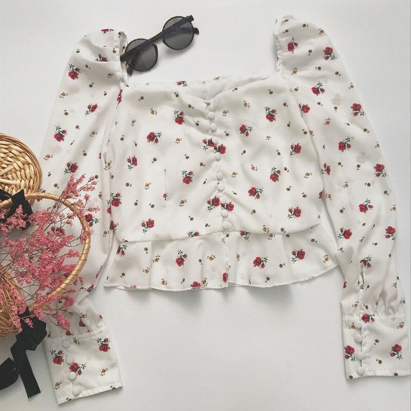 Botón Mujer Gasa Volantes Vintage Blusa 2018 Flor Tops Camisa Y Blusas Casual Moda Bazaleas YqwXE6z