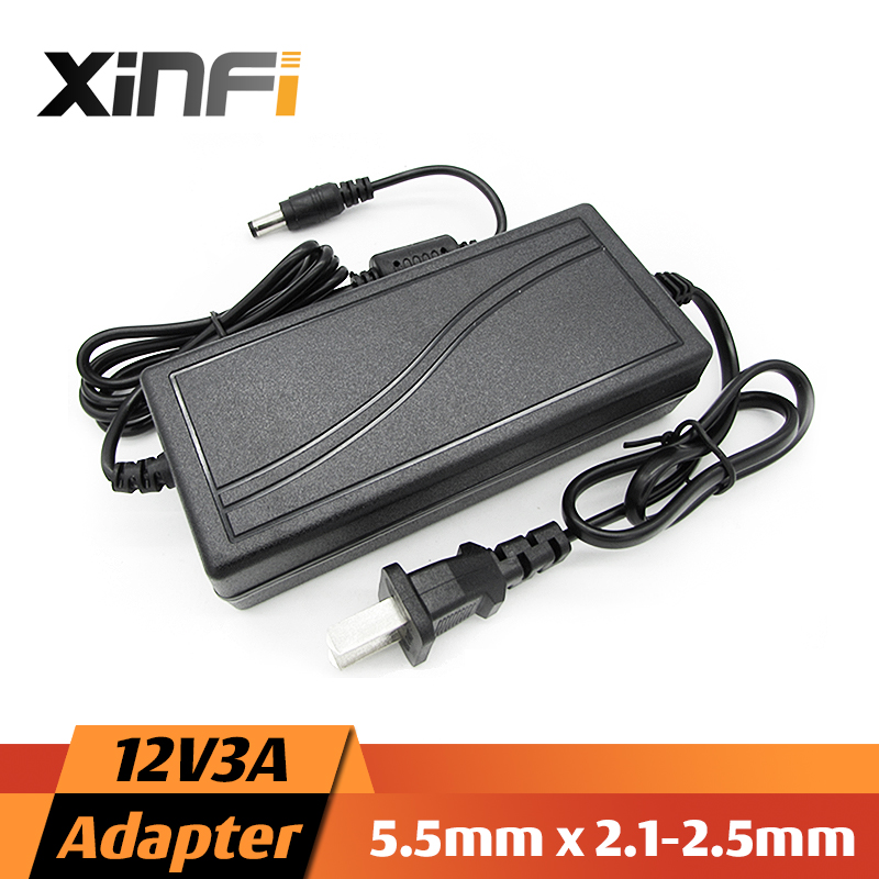 XinFi 12V3A AC 100V-240V Converter Adapter DC 12V 3A 3000mA Power Supply EU/US/AU 5.5mm x 2.1-2.5mm for LED CCTV LED LCD Monitor eu us au uk plug dc 12v 10a 120w output led strip ac power adapter power supply switching charger for lcd monitor or cctv camera