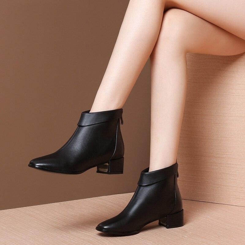 Schuhe Zapatos Mode Bootie Mujer Winter Mycolen Für Runde Frau Echtem Schwarzes Stiefel Leder Frauen Luxus Kappe Chelsea Stiefeletten nBxHwF
