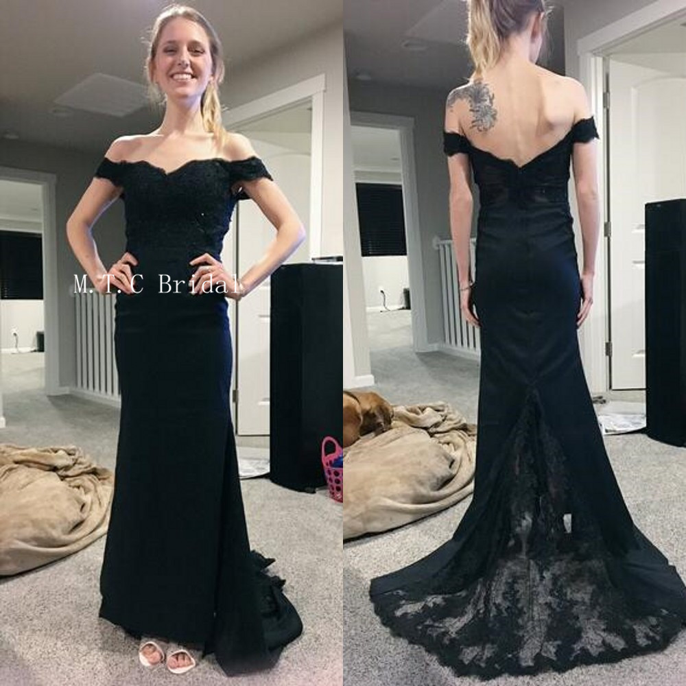 Hot Selling Black Mermaid Long   Prom     Dresses   Elastic Satin Lace Off The Shoulder Boat Neck Formal Evening Gowns 2019 Custom Made
