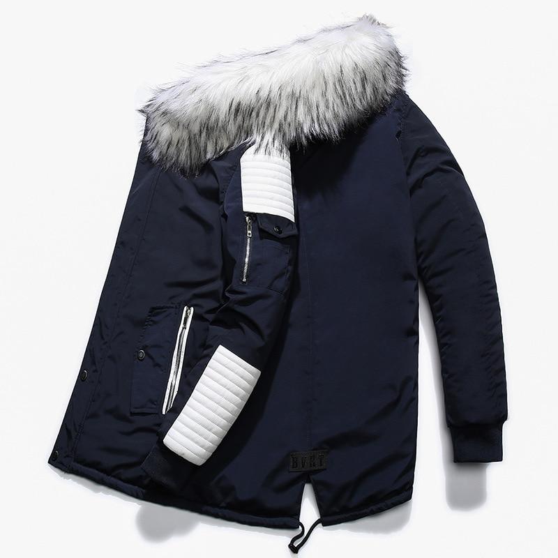 Aolamegs Fur Collar Winter Jacket Men Patchwork Thick Hooded Down Jacket Men Parkas Fashion Windproof Coat Mens Streetwear (4)