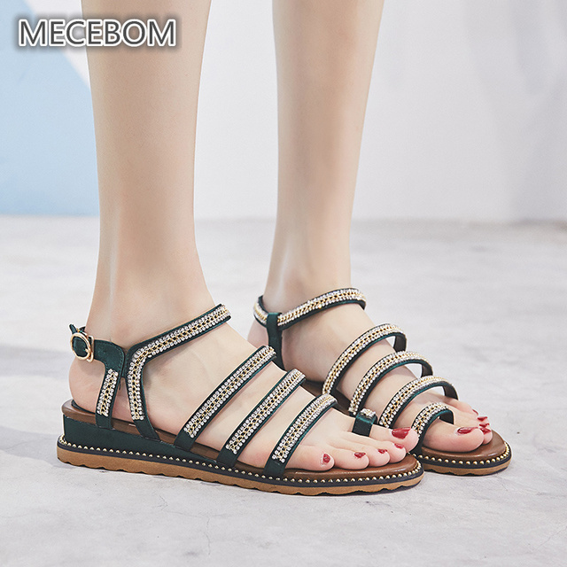 647b1cf897c Fashion Green Women s Sandals Brand Crystal Design Ladies Shoes Wedge Flat  Women Sandals size 35-40 003-11w