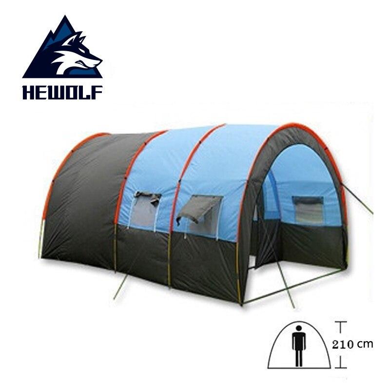 Tunnel 10 personnes tentes grande tente de Camping toile imperméable fibre de verre 5-8 personnes famille équipement extérieur alpinisme fête