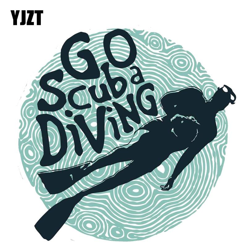 YJZT  13CM*13CM Funny Go Scuba Diving PVC  Decoration Car Sticker 11-00240
