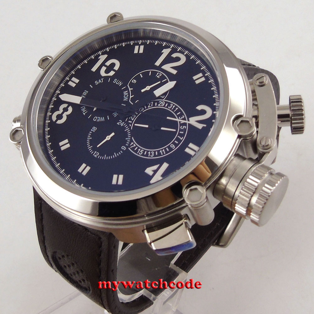 50mm parnis black dial leather strap multifunction automatic mens wristwatch P2