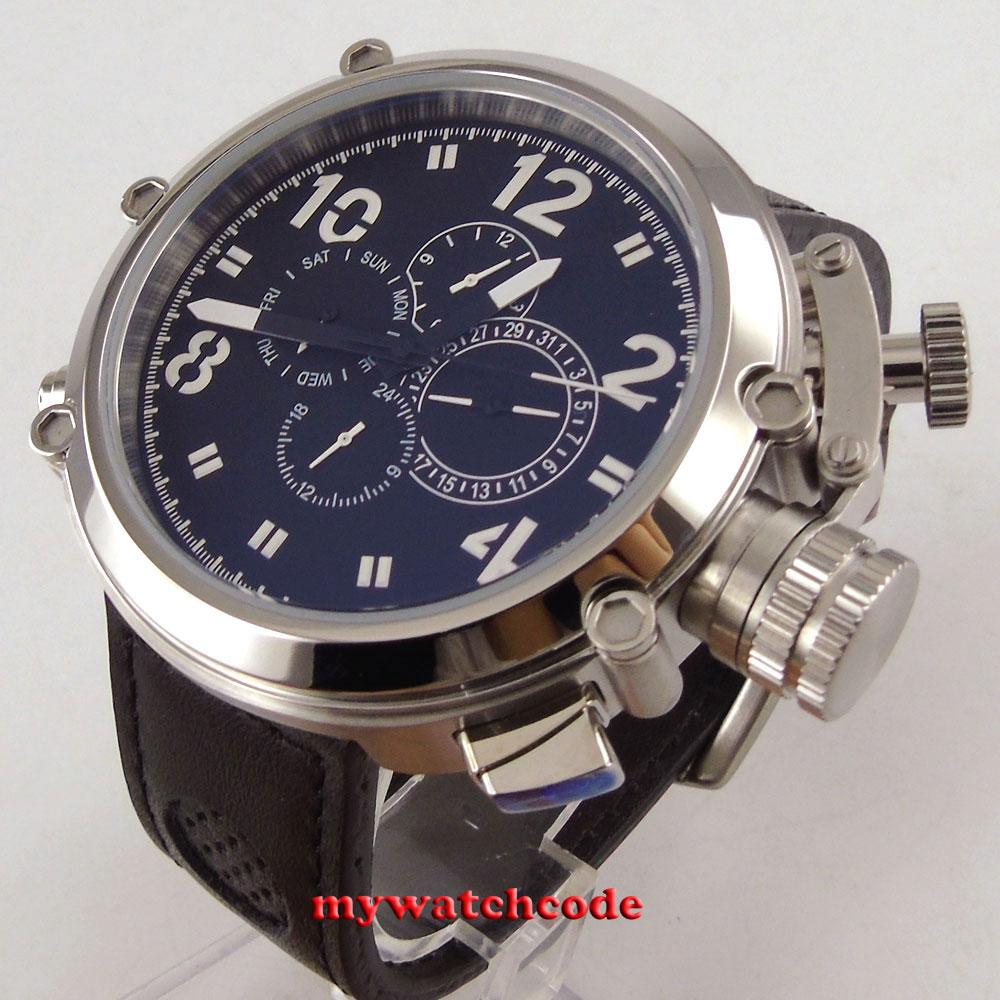 50 ミリメートルパーニスブラックダイヤルレザーストラップ多機能自動メンズ腕時計 P2  グループ上の 腕時計 からの 機械式時計 の中 1