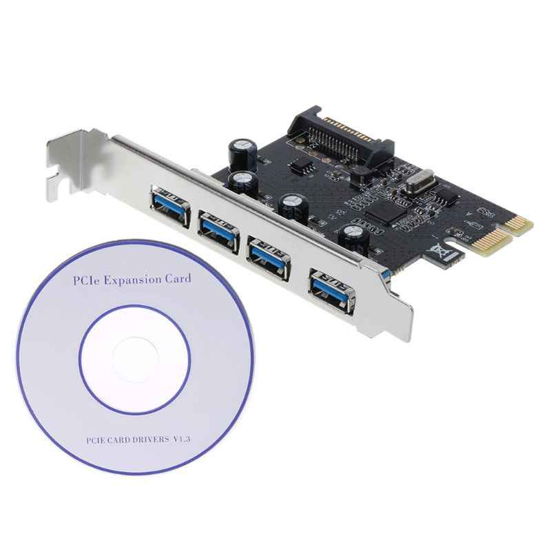 PCI-E PCI Express a USB 3,0 a través de Chip SATA interfaz adaptador de 4 puertos tarjeta Convertidor para escritorio Windows XP/Vista/Win7/Win8/Win10