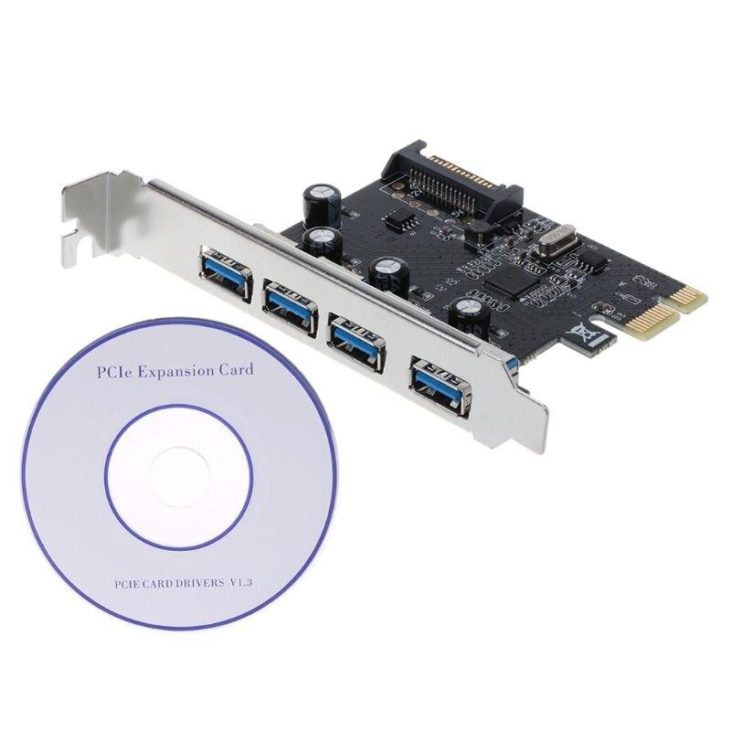PCI-E PCI Express To USB 3.0 VIA Chip SATA Interface 4 Port Adapter Converter Card For Desktop Windows XP/Vista/Win7/Win8/Win10