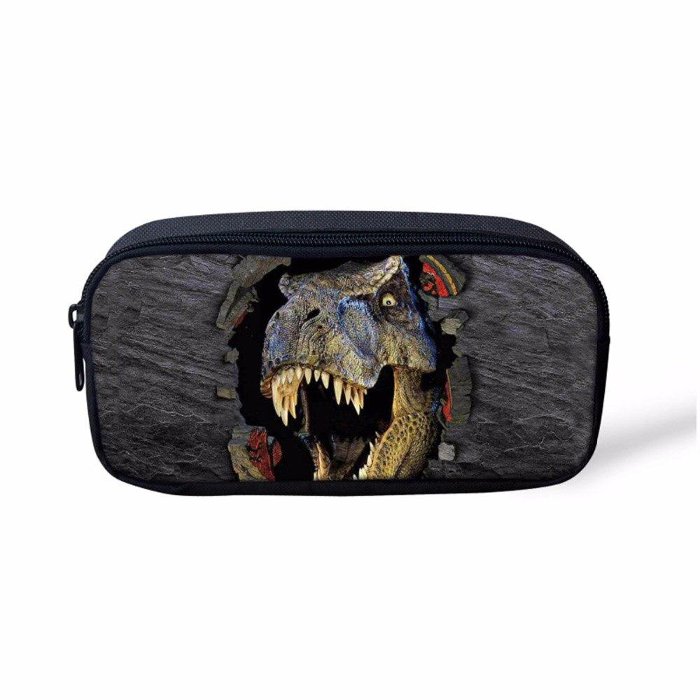 Cool 3D Dinosaur Kids Pencil Case Women Makeup Bag Cosmetics Cases Pen Box For School Stationery Pencil Bags Holder
