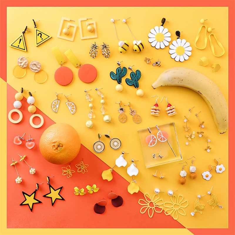 2019 Fashion Korean cute flower fruit lemon pineapple star cactus orange lon acrylic earrings for women summer jewelry