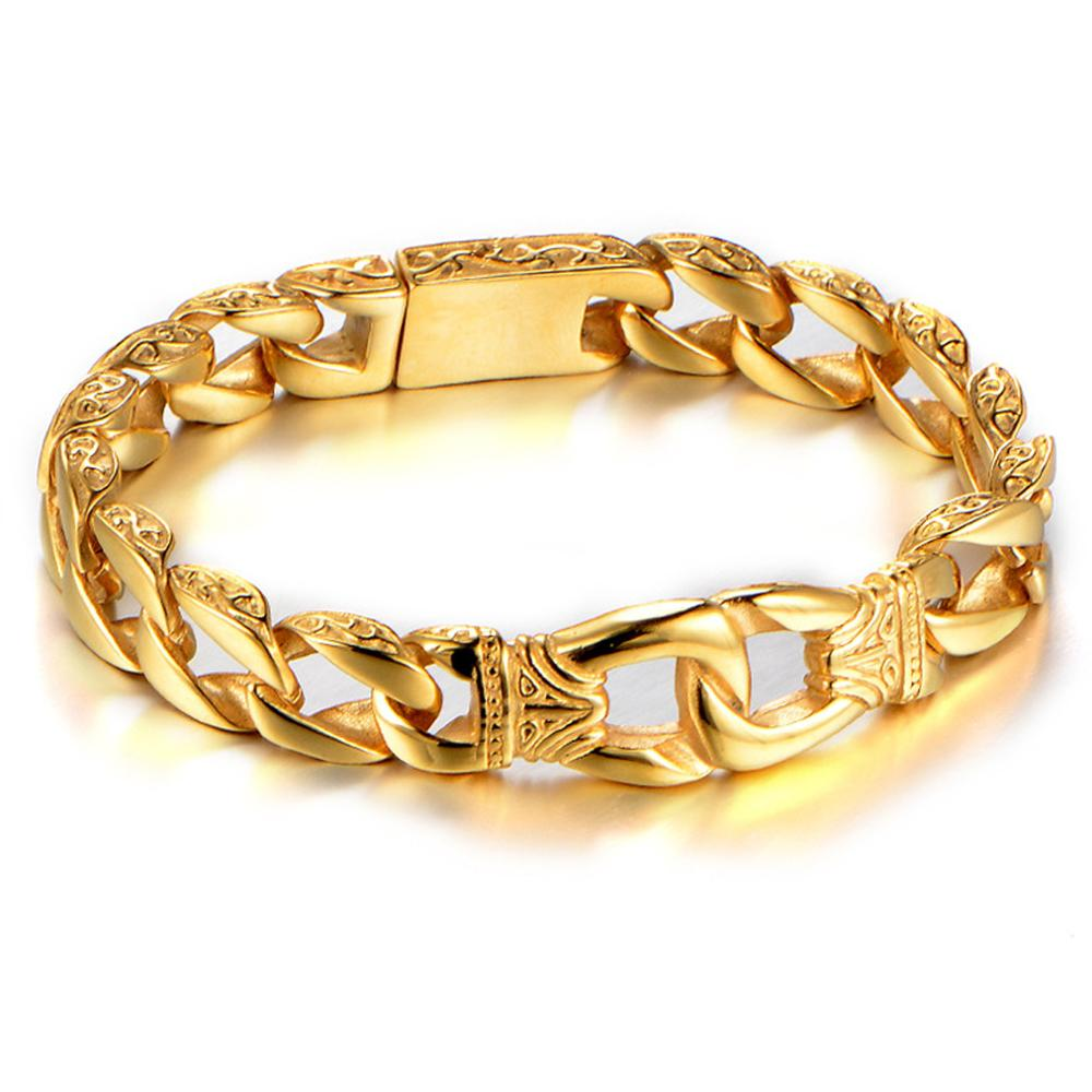 Granny chic 12mm Gold Stainless Steel Charm Bracelet Men Vintage Totem Mens Bracelets Cool Male Jewelry Jewellery Armband in Chain Link Bracelets from Jewelry Accessories