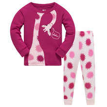 Купить с кэшбэком 2019 brand 100% cotton children pajamas set kids Cartoon dinosaurs sleepwear Girls boys cozy nightwear Family Clothing pyjamas