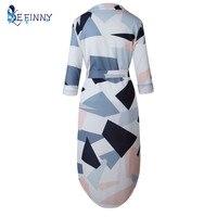 EFINNY 2017 Fall Fashion Sex Women's Split Dress Bow Tied Flower Print Casual Party Mid-Calf Dress