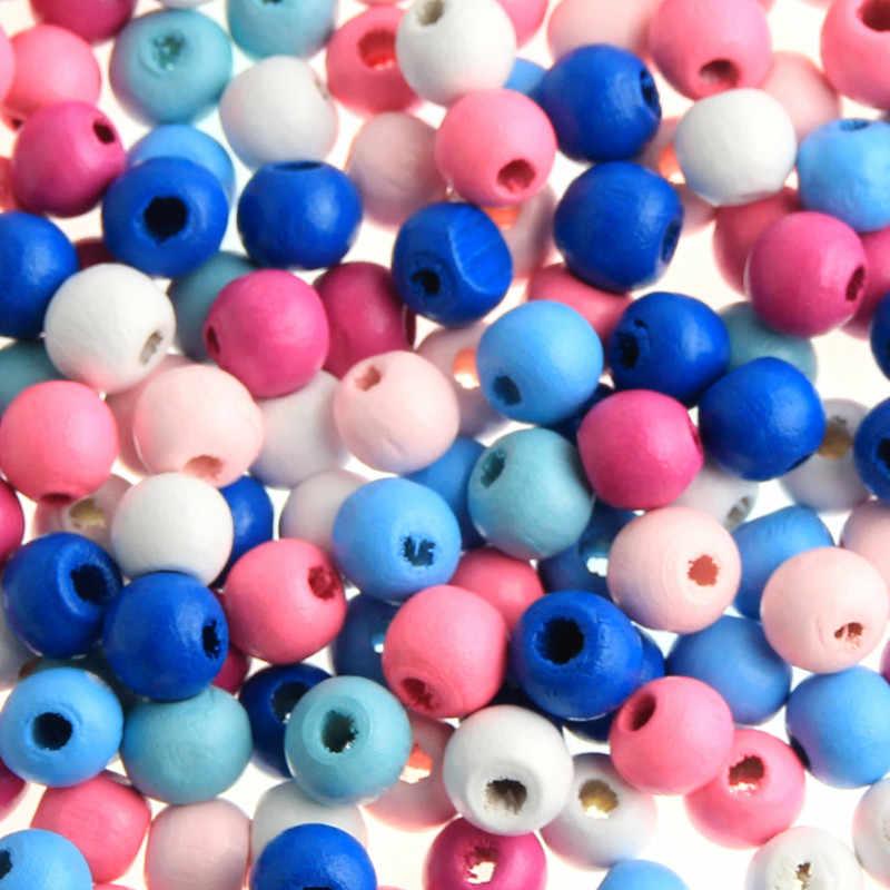 Деревянные бусины, 200 шт., деревянные материалы, 8 мм для малышей, поделки, детские игрушки, ожерелье-прорезыватель, пустышка, зажим, разделитель для бисера