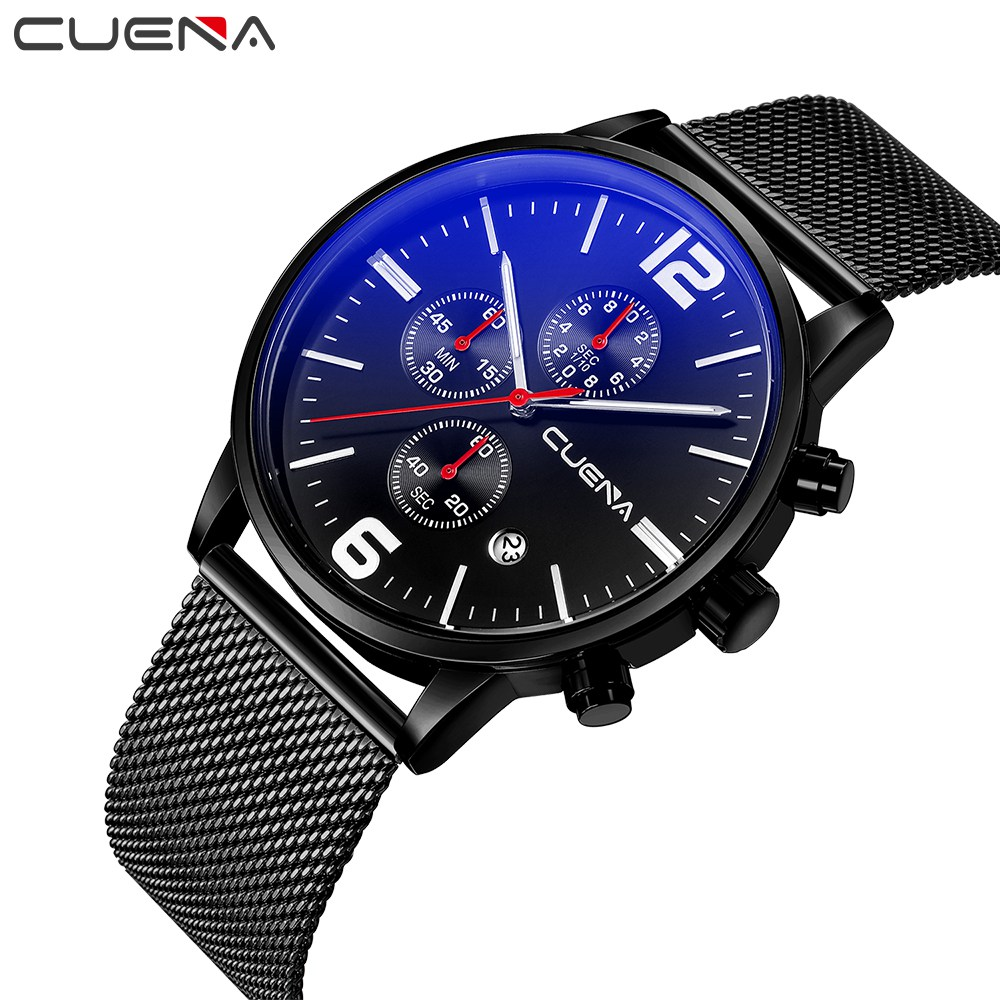 Top Luxury Brand CUENA Men's Watches Stainless Steel Band Display Quartz Men Wrist watch Ultra Thin Dial Black Fashion Watch lovers watches fashion stainless steel band wrist quartz watch men