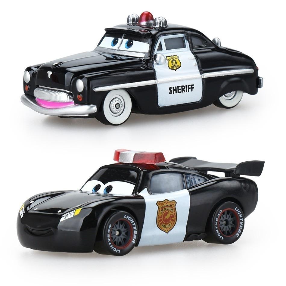 Disney Pixar Cars 3 Lightning Mcqueen 1:55 Police Car Diecast Brand Metal Alloy Toys Birthday Gift For Kids Car Toys Friends