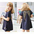2016 New Girl Summer Dress Navy Blue Golden Wings Baby Girl Dress Cotton Robe Fille Enfant Kids Clothes Baby Girl Party Dress