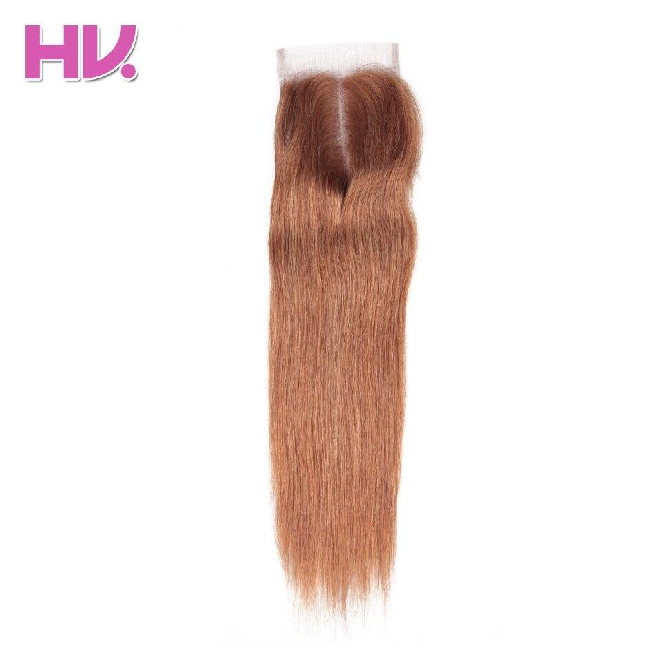 Блондинка бразильский прямые волосы Синтетическое закрытие шнурка волос Цвет 30 средняя часть 4*4 швейцарский Кружево 100% человеческих Химич...