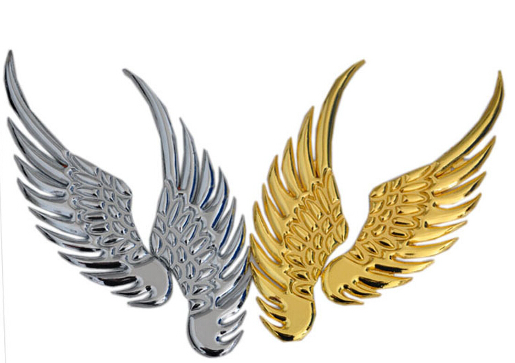 3D safe guard angel wing creative slivery golden metal car sticker auto parts automobile accessory