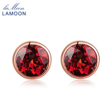 Lamoon 1ct 100% Natural Small Round Red Garnet Stud Earrings For Women 18K Rose Gold Plated 925 Sterling Silver Jewelry EI016