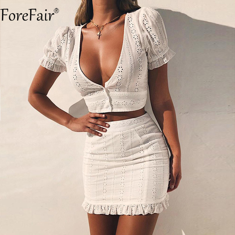 ForeFair V Neck Hollow Out Sexy Bodycon Dress Casual Vestidos Short Sleeve Summer White  ...