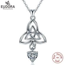 Eudora Real Sterling Silver Heart Pendant Neckalce good Luck Celtics Knot Choker Women Fashion 925 Jewelry for Party Gift D191