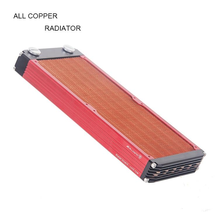 V3 120/240/360mm watercooling tout cuivre radiateur pour 12 cm ventilateur ordinateur dissipateur thermique cooler master 30mm épaisseur argent/noir, rouge