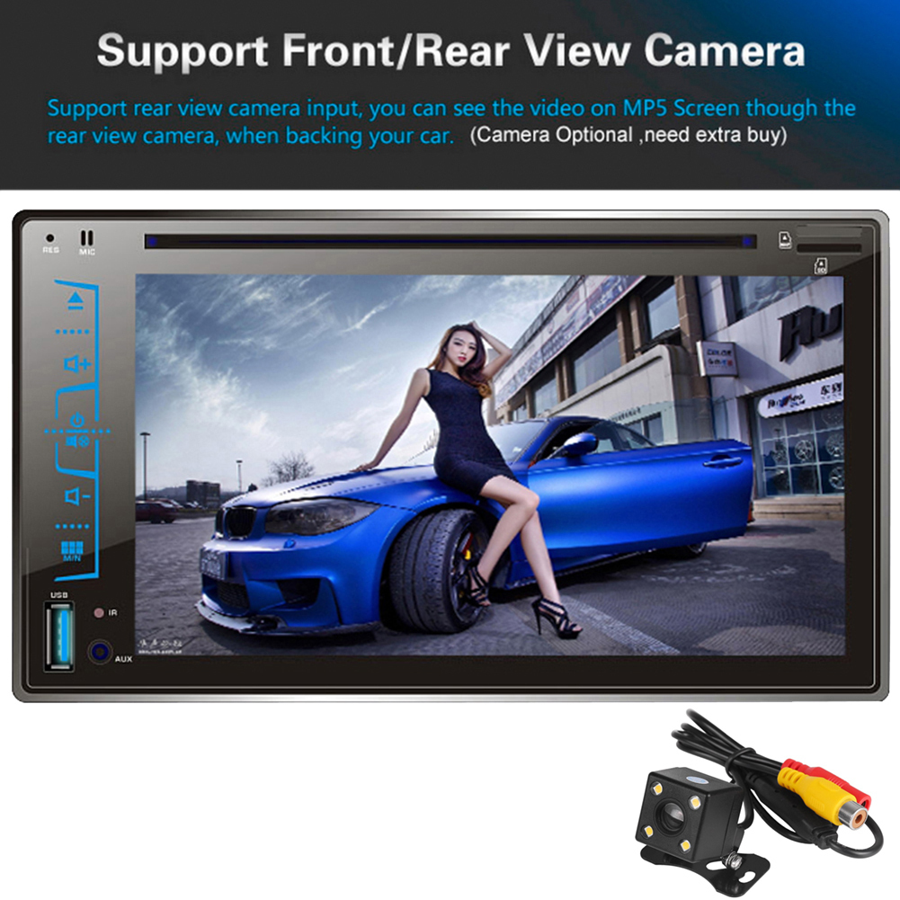 6.2 2 Din Car DVD Player Bluetooth Stereo Radio Multimedia Player CD MP3 FM AM USB SD AUX-IN Support Steering Wheel Control 12v stereo 1 din car multimedia player fm radio mp3 mp4 player 3 6 inch touch screen bluetooth hands free calls sd usb charger