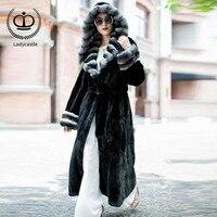 2018 Women X Long Real Chinchilla Rex Rabbit Fur Coat With Hood Thick Warm Winter Overcoat Genuine Fur Jacket Rabbit Down RB 031