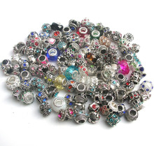 100pcs mix color & style rhinestone big hole charms charms & crystal glass fit Pandora bracelet