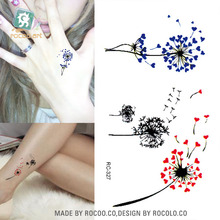 RC2327 Sexy Body Art Water Transfer Tattoo Decal Waterproof Temporary Tattoo Sticker Lovely Blue Red Dandelion Fake Tattoo