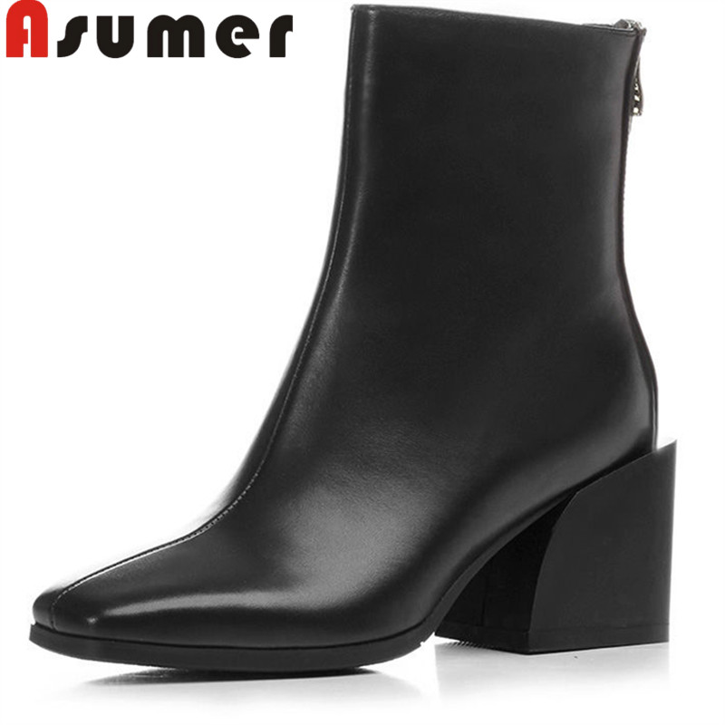 ASUMER NEW 2018 fashion autumn boots thick heels high quality genuine leather boots square toe classic ankle boots for womenASUMER NEW 2018 fashion autumn boots thick heels high quality genuine leather boots square toe classic ankle boots for women