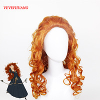 VEVEFHUANG Movie Brave Long Curly Princess Merida Cosplay Wig For Cosplay Orange Hair With Hair Net