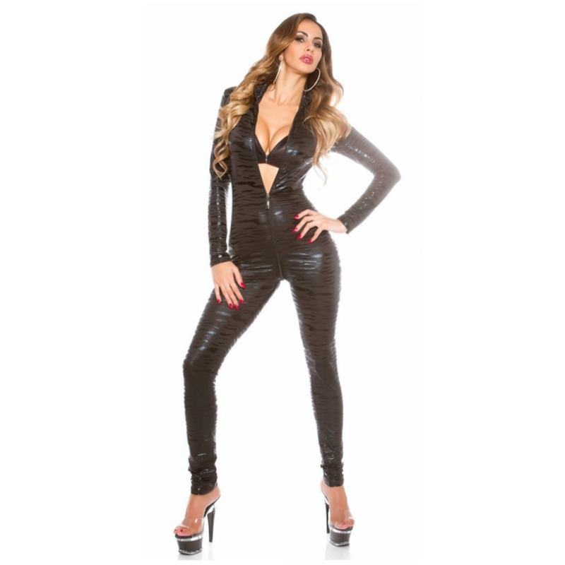 2018 fashion top sexi vinyl body suits tight gothic tiger stripe leather catsuit bodysuit front to crotch Open crotch zipper