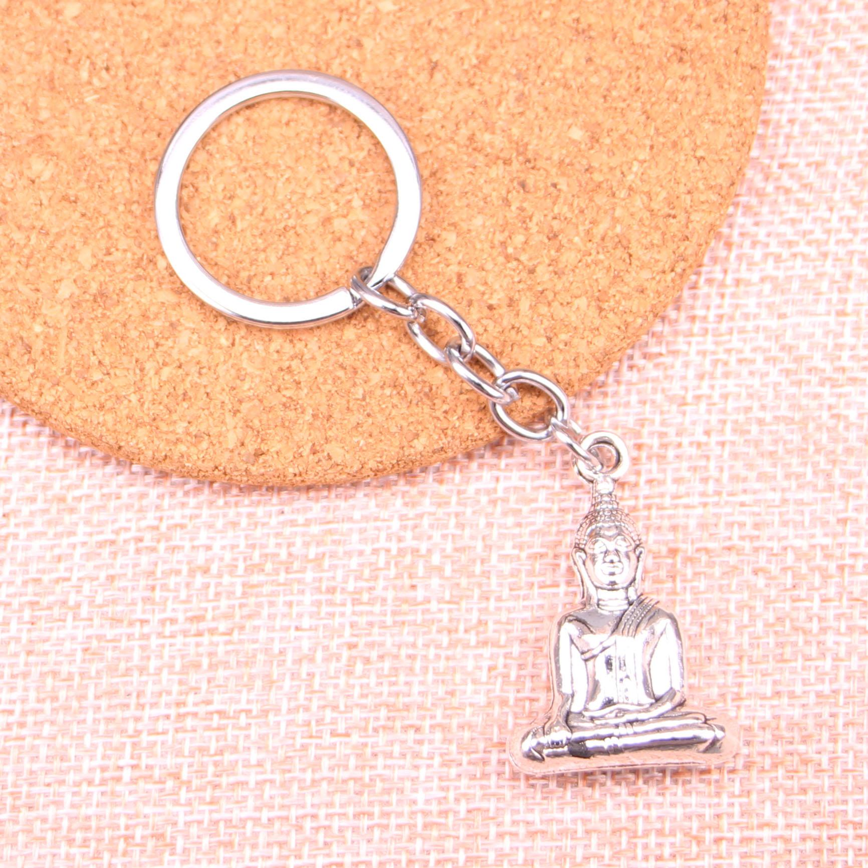 Vintage buddha head Key Rings Fashion Car Keychain Silver Color Metal Key Chains Accessory