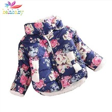 Belababy Girls Coat Warm 2016 Baby Winter Long Sleeve Flower Jacket Children Cotton-Padded Clothes Kids Christmas Outwear a-079